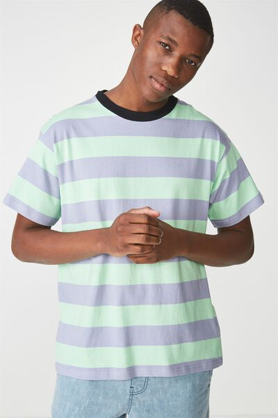 Dylan Tee, PATINA GREEN/SOFT PURPLE BIG STRIPE
