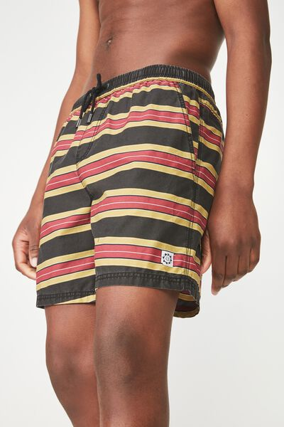 Hoff Short, BLACK / RED / MUSTARD / STRIPE