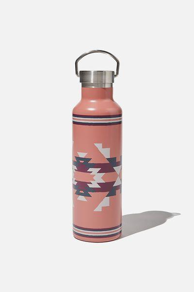 Metal Drink Bottle, PINK IKAT