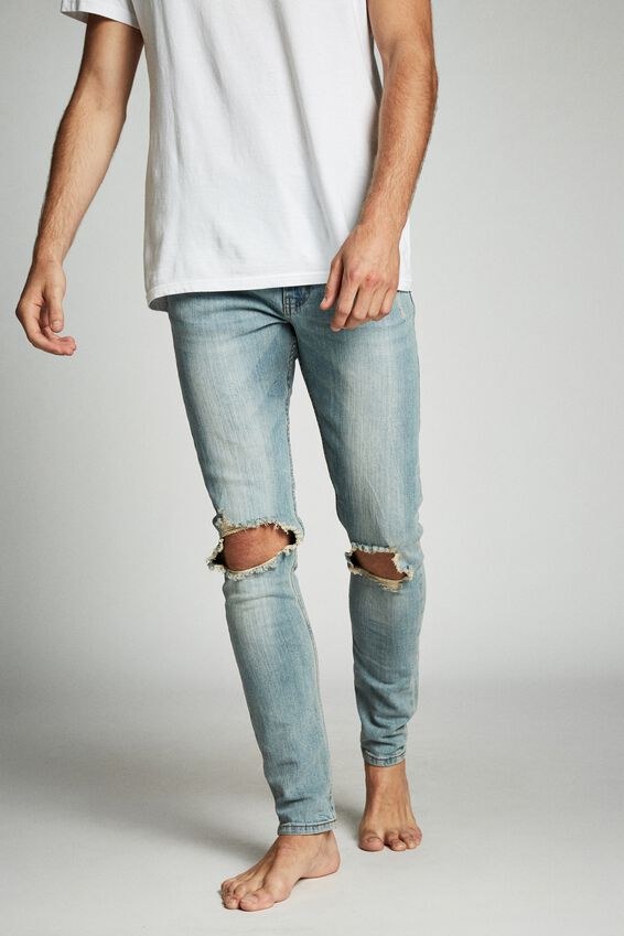 Super Skinny Jean, WORKER BLUE + BLOWOUT
