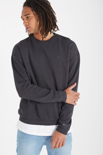 Drop Shoulder Crew Fleece, WASHED BLACK/NYC SCRIPT
