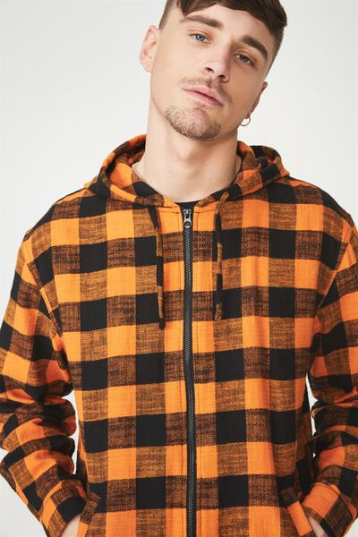 Zip Hood Shirt, BLACK ORANGE CHECK