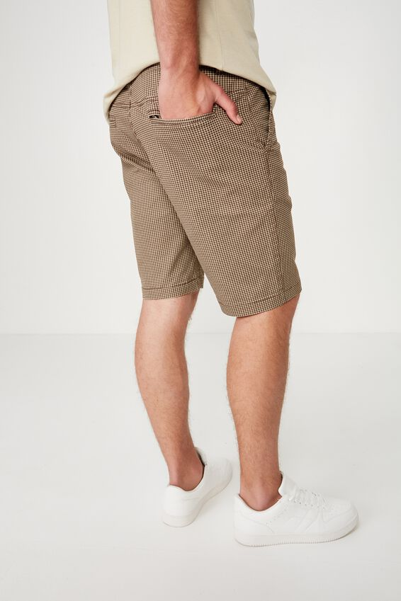 Washed Chino Short, CAMEL / HOUNDSTOOTH