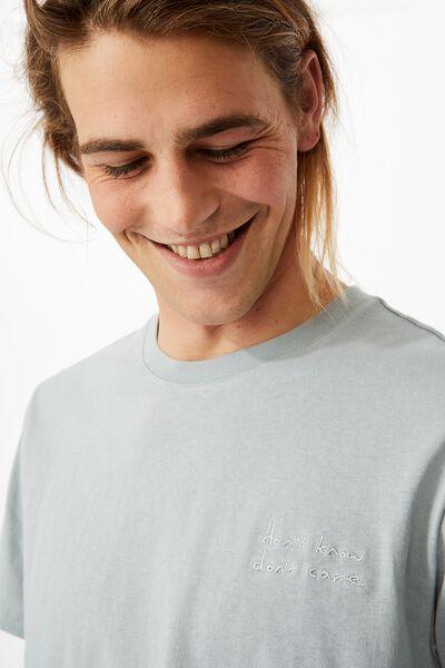 Tbar Text T-Shirt, BLUE HAZE/DONT KNOW DONT CARE