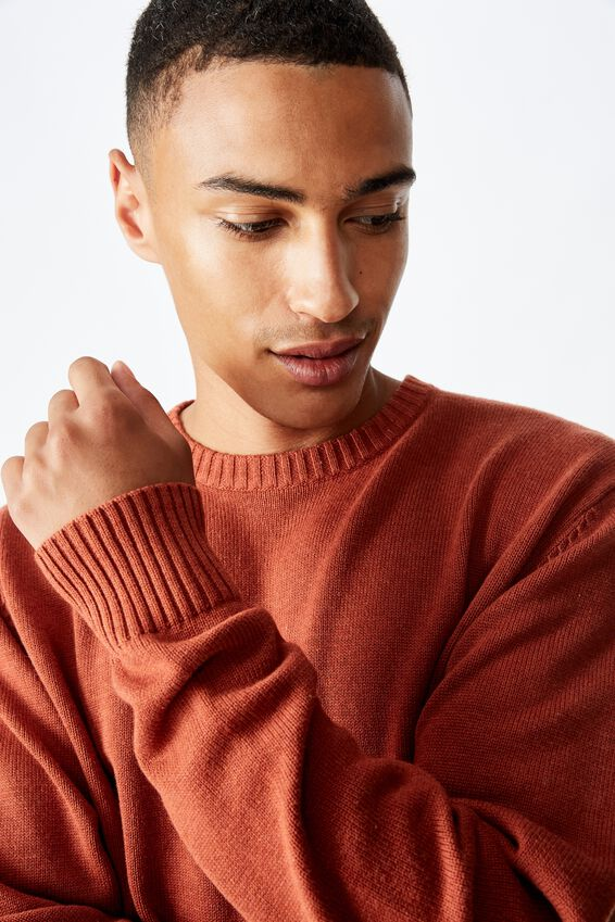 Crew Knit, BURNT ORANGE MARLE