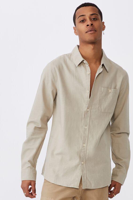 Washed Long Sleeve Check Shirt, WASHED ECRU