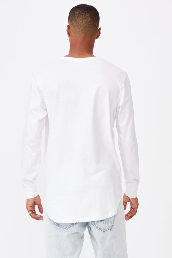 Longline Scoop Long Sleeve T-Shirt, WHITE