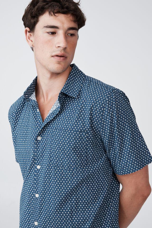 Vacay Short Sleeve Shirt, INDIGO COFFEE BEAN MICRO