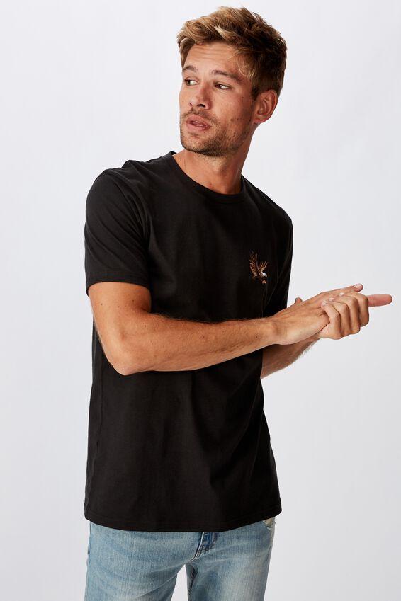Tbar Art T-Shirt, WASHED BLACK/FLYING EAGLE EMBROID