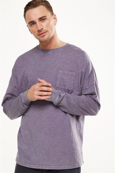 Drop Shoulder Long Sleeve, CADET PURPLE ACID
