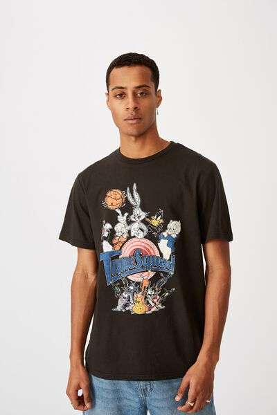 Tbar Collab Movie And Tv T-Shirt, LCN WB WASHED BLACK/SPACE JAM-TUNE SQUAD 2