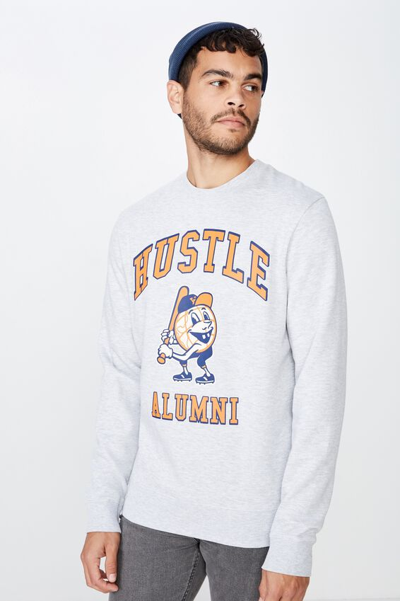 Crew Fleece 2, LIGHT GREY MARLE/HUSTLE ALUMNI