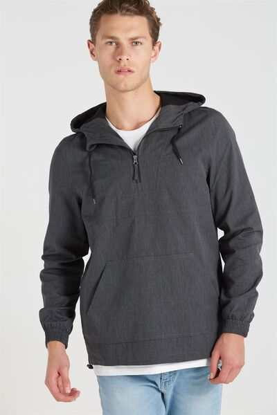 Textured Kagoul Jacket, DARK GREY