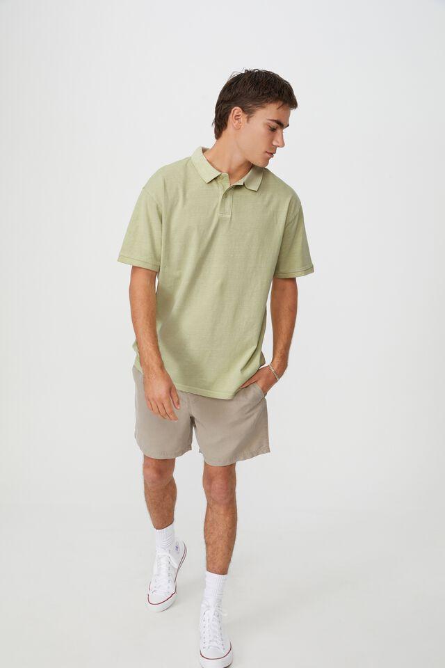 Oversized Washed Polo, PASTEL GREEN