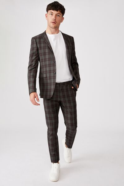 Fashion Slim Stretch Suit Pant, CHARCOAL TAN