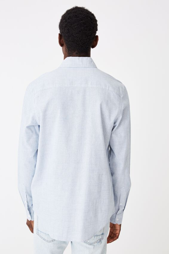 Textured Long Sleeve Shirt, TEXTURED BLUE