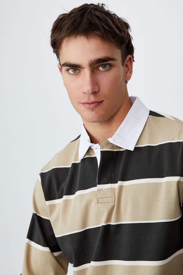 Rugby Long Sleeve Polo, GRAVEL STONE BLOCK STRIPE