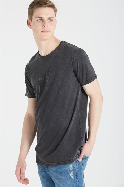 Longline Scoop Hem Tee, WASHED BLACK/OBLIVION