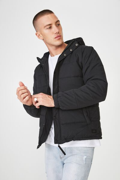 Outdoor Puffer Jacket, BLACK