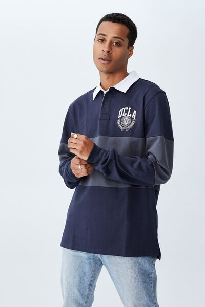 Rugby Collab Long Sleeve Polo, LCN UCL TRUE NAVY LATE NIGHT BLUE/UCLA MID PA