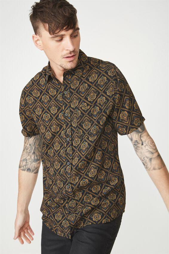 Short Sleeve Resort Shirt, ORNAMENT DIAMOND GEO