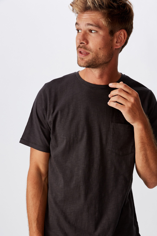 MEN Slub Crew Neck Pocket Short Sleeve T Shirt