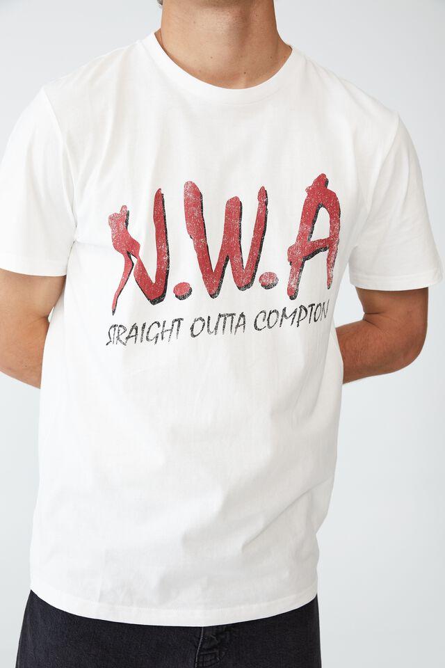 Tbar Collab Music T-Shirt, LCN MT VINTAGE WHITE/NWA - STRAIGHT OUTTA COM