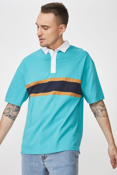 Oversized Short Sleeve Polo, BLUE NAVY BLOCK STRIPE