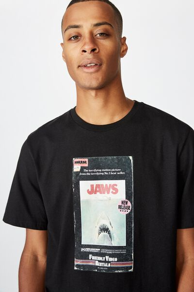 Tbar Collab Movie And Tv T-Shirt, LCN UNI BLACK/JAWS - RETRO VHS