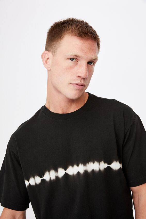Festival T-Shirt, WASHED BLACK WHITE STRIPE TIE DYE
