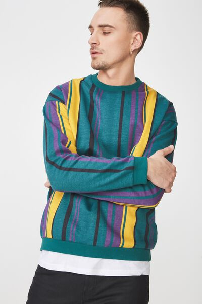 Drop Shoulder Crew Fleece, TEAL GREEN/PURPLE/GOLD/DARK PURPLE VERTICAL STRIPE