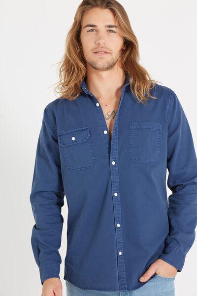 Worker Long Sleeve Shirt, INDIGO