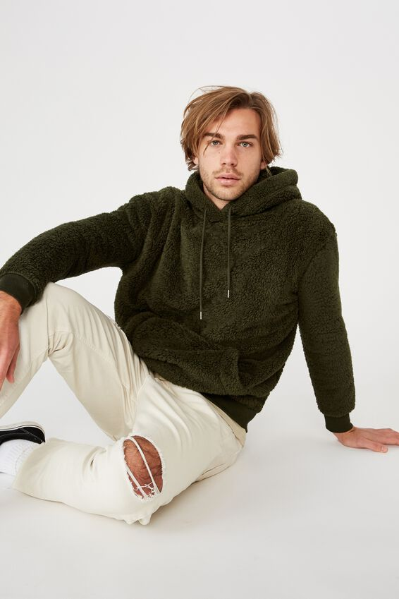 Drop Shoulder Teddy Fleece Hood, DUFFLE GREEN