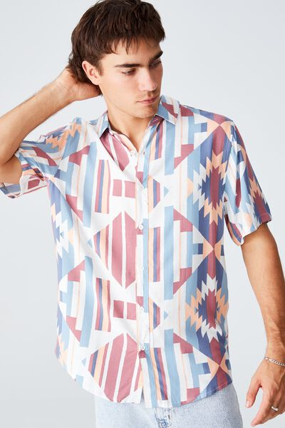 Vacation Short Sleeve Shirt, BLUE MULTI DIAMOND IKAT