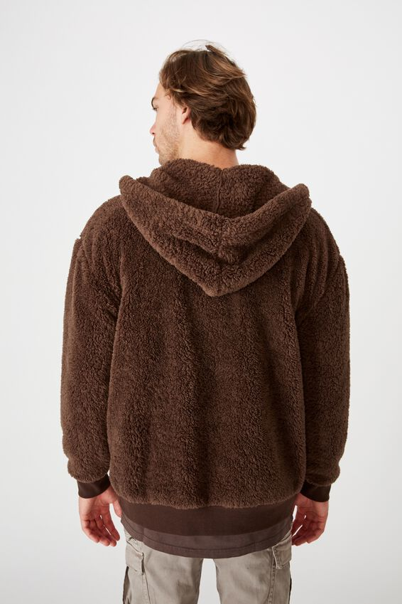Teddy Fleece Zip Thru Hood, CHOCOLATE BROWN