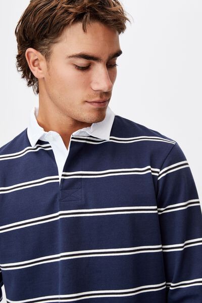 Rugby Long Sleeve Polo, NAVY BLACK WHITE STRIPE