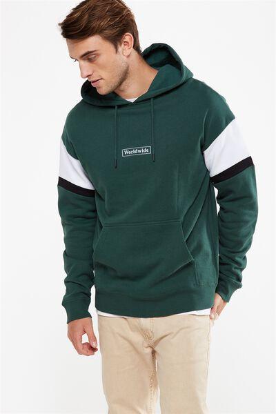 Drop Shoulder Pullover Fleece, FERN GREEN/WHITE/BLACK/WORLDWIDE