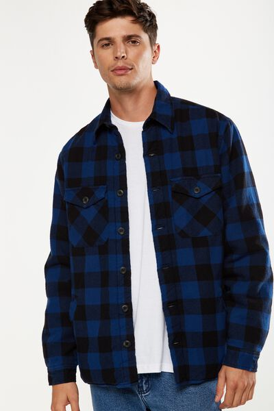 Flanno Sherpa Shacket, BLUE/BLACK CHECK