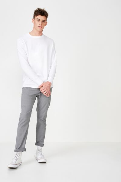 Knox Chino Pant, GREY WINDOW PANE PRINT