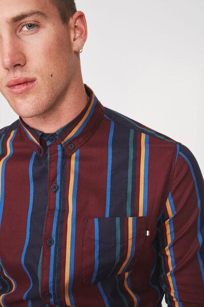 Brunswick Shirt 3, BURG NAVY TAN STRIPE