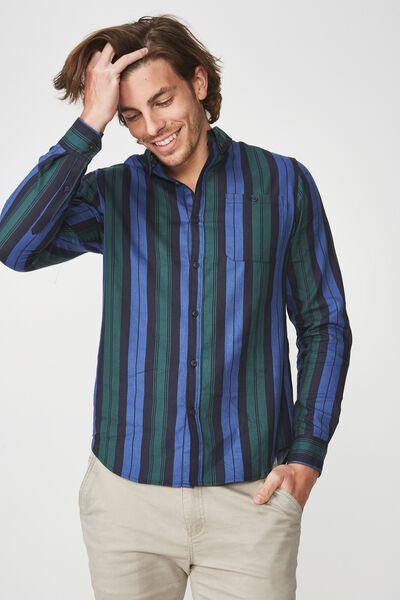 91 Shirt, GREEN BLUE STRIPE