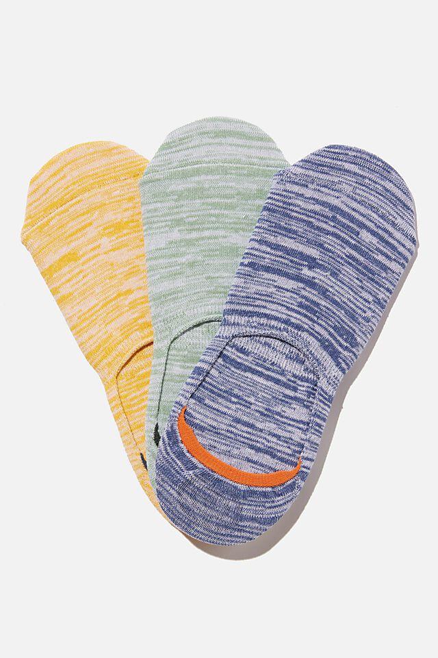 Invisible Socks 3 Pack, TEXTURED NAVY/GREEN/MUSTARD