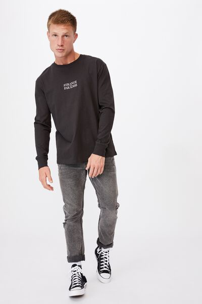 Tbar Long Sleeve T-Shirt, WASHED BLACK/STRANGE PARADISE EMBROID