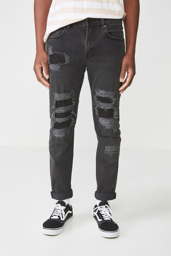 Tapered Leg Jean, VINTAGE BLACK RIP + REPAIR
