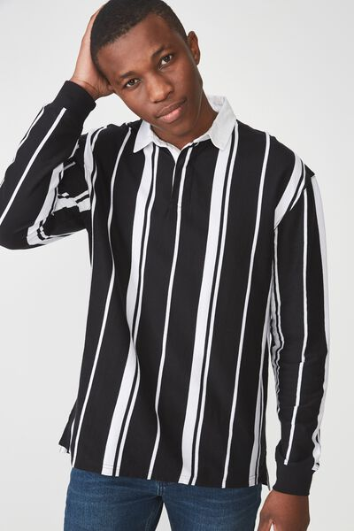 Rugby Polo, BLACK WHITE STRIPE