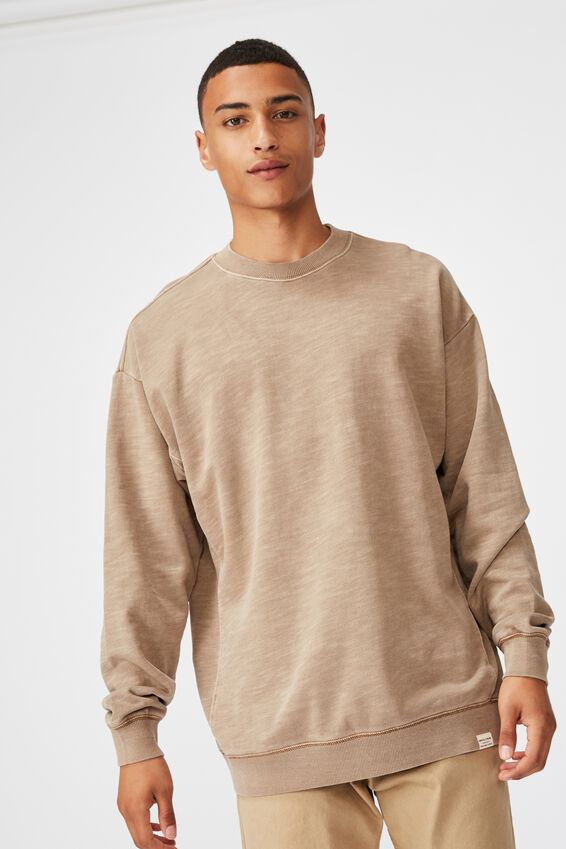 Pigment Dyed Oversized Crew, TAUPE