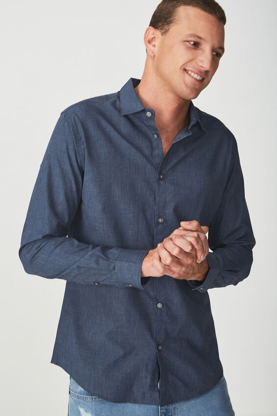 Slim Smart Shirt, NAVY MARLE