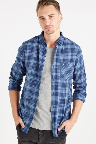 Vintage Long Sleeve Shirt, BLUE CHECK