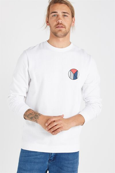 Crew Fleece 2, WHITE/NYC LOCKUP