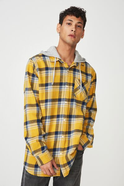 Rugged Hooded Shirt, YELLOW CHECK